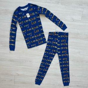 NWT Hanna Andersson pajama set trains 10 blue